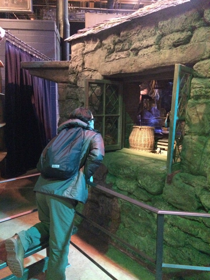 Aaron looking through the window to Hagrid's cabin